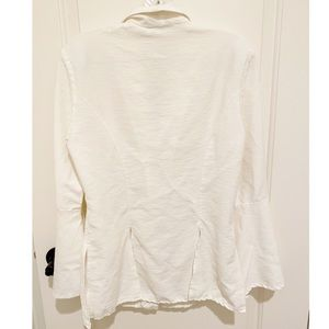 Vintage Tops - VTG White Pleated Blouse w/ Gold Floral Buttons